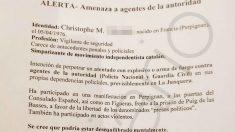 Encabezamiento de la alerta emitida por la Comisaría de Policía Nacional de La Junquera.