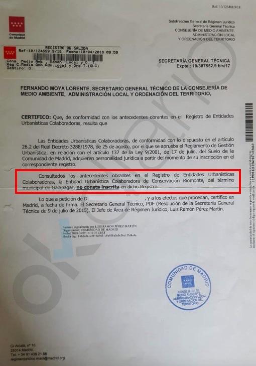 Certificado de la Comunidad de Madrid sobre la mancomunidad de Iglesias en Galapagar. (Clic para ampliar)