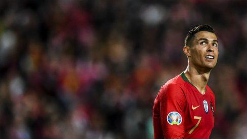 Cristiano Ronaldo en el Portugal – Ucrania. (AFP)