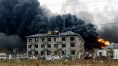 Explosión química en China. Foto: AFP