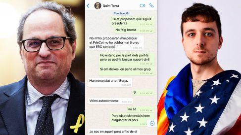 Quim Torra y Borja Vilallonga (hijo de la nueva consellera de Cultura), junto a la conversación de chat registrada el 15 de marzo de 2018.