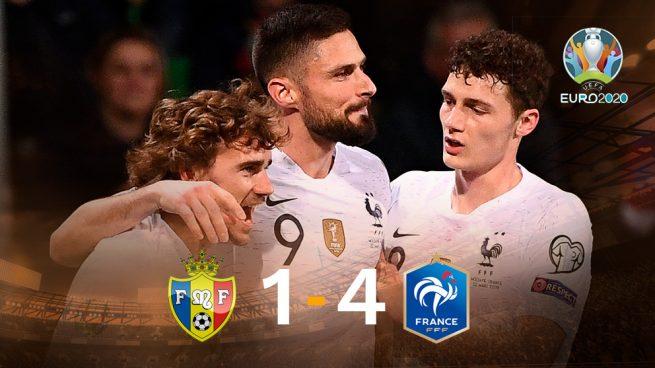 Griezmann y Varane marcan en la goleada de Francia