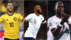 Hazard, Sterling y Pogba, con sus selecciones.