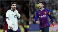 Las dos caras de Leo Messi. Con Argentina todo son decepciones, con el Barça felicidad plena.