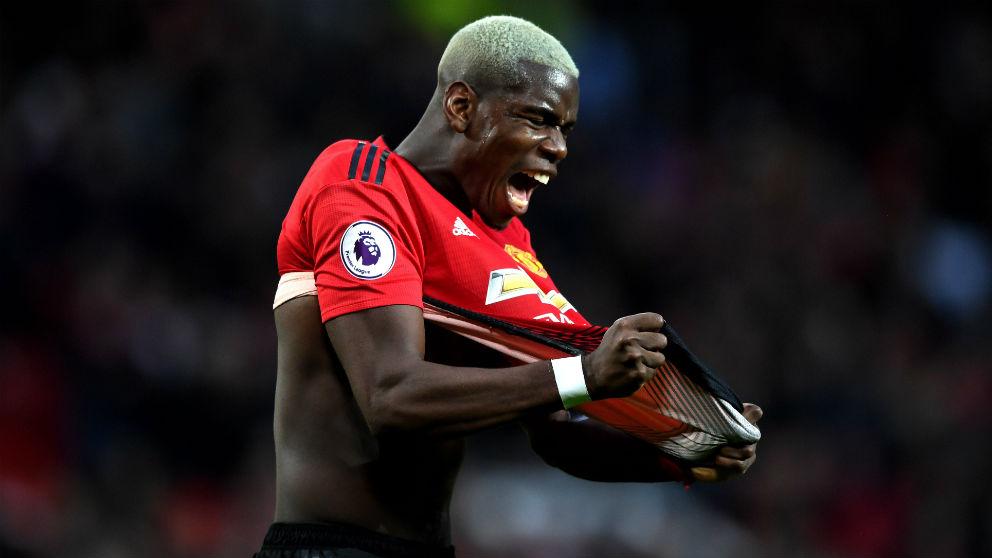 Pogba celebra un gol con el Manchester United. (Getty)