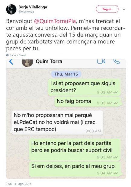 """El hijo de la nueva consejera de Cultura llamó """"títere"""" a Torra y proponía expropiar edificios de empresas """"españolas"""""""
