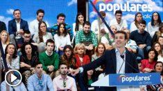 El líder del PP, Pablo Casado, este domingo en Vigo en un mitin de precampaña. (Foto: EFE)