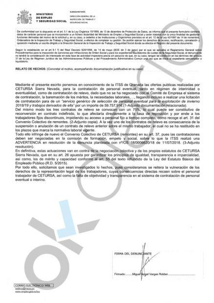 El Comité de Empresa de Sierra Nevada denuncia al chiringuito del PSOE ante Trabajo por el enchufismo
