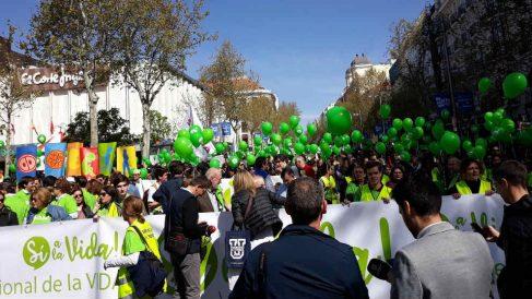 Manifestación contra el aborto, este domingo, en Madrid. EP
