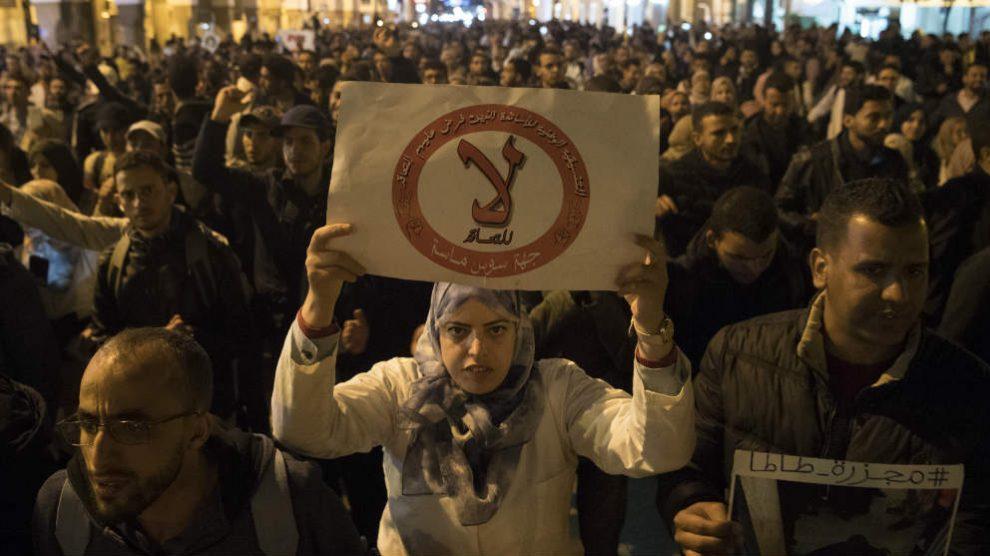 Manifestación de profesores en Marruecos