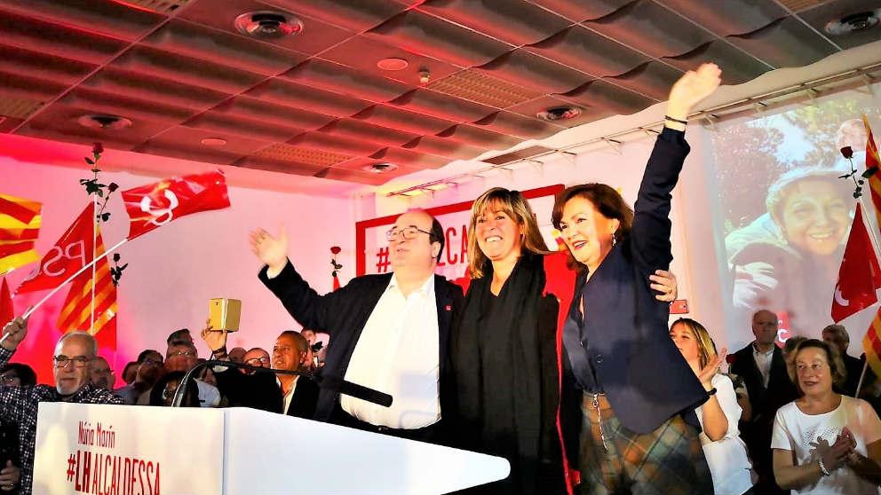 Nuria Marin junto a Carmen Calvo y Miquel Iceta. EP.