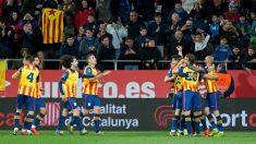 Los jugadores de Cataluña celebran un gol contra Venezuela. (EFE)