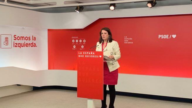 La vicesecretaria general del PSOE, Adriana Lastra, este lunes en Ferraz. Foto: Joan Guirado