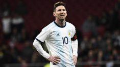 Messi, en el encuentro que midió a Argentina y Venezuela. (AFP)