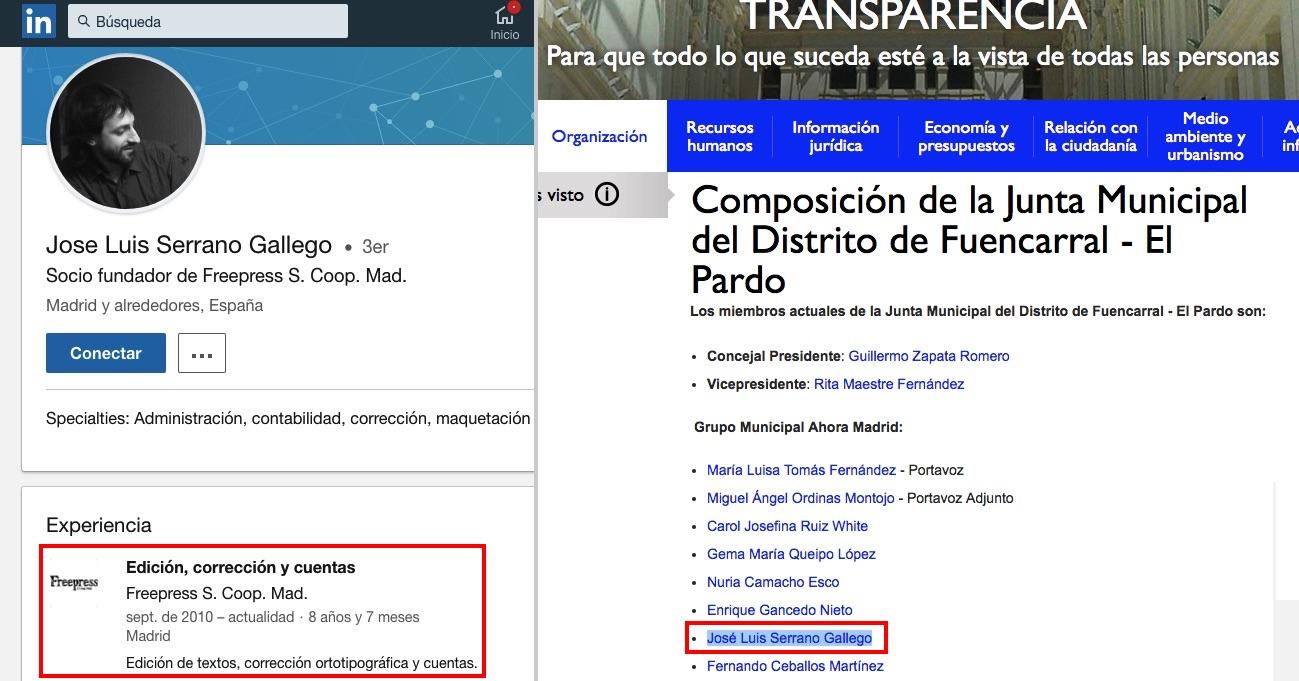 Perfil en Linkedin y composición del Pleno de Fuencarral.