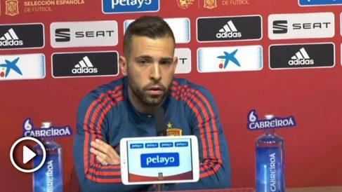 Jordi Alba, en rueda de prensa.
