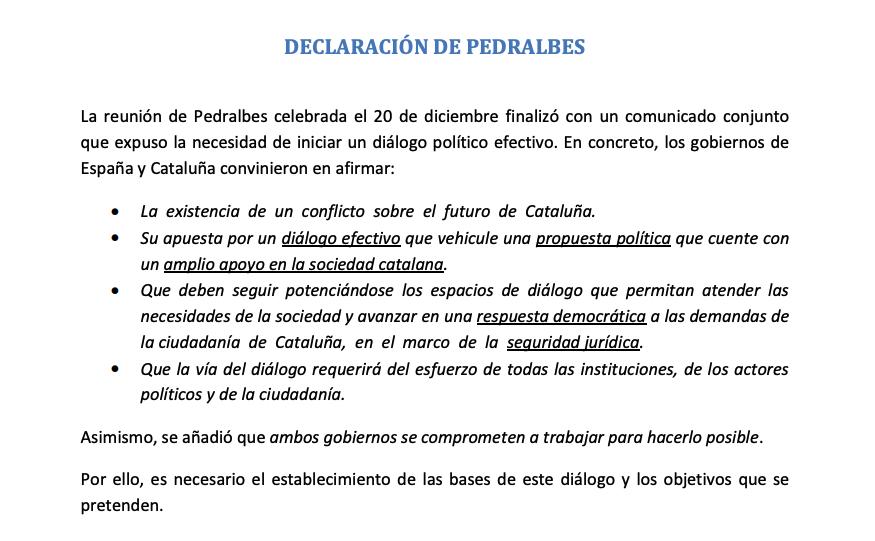 Fragmento de la 'Declaración de Pedralbes'