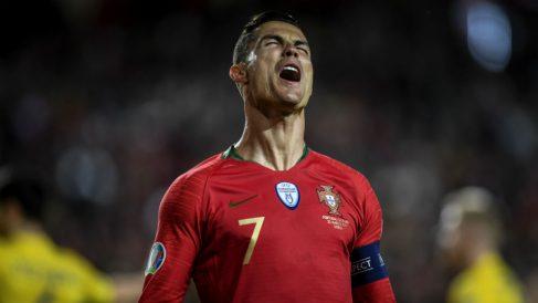 Cristiano Ronaldo durante el Portugal-Ucrania. (AFP)
