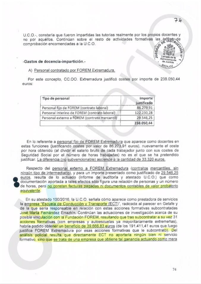 CCOO se sumó al latrocinio de UGT en Extremadura llevándose dinero de los fondos de formación