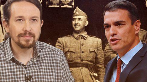 Pablo Iglesias, Pedro Sánchez y Franco.
