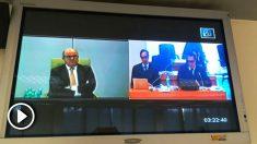 Luis de Guindos interrogado por videoconferencia (Foto: Mario Moratalla)