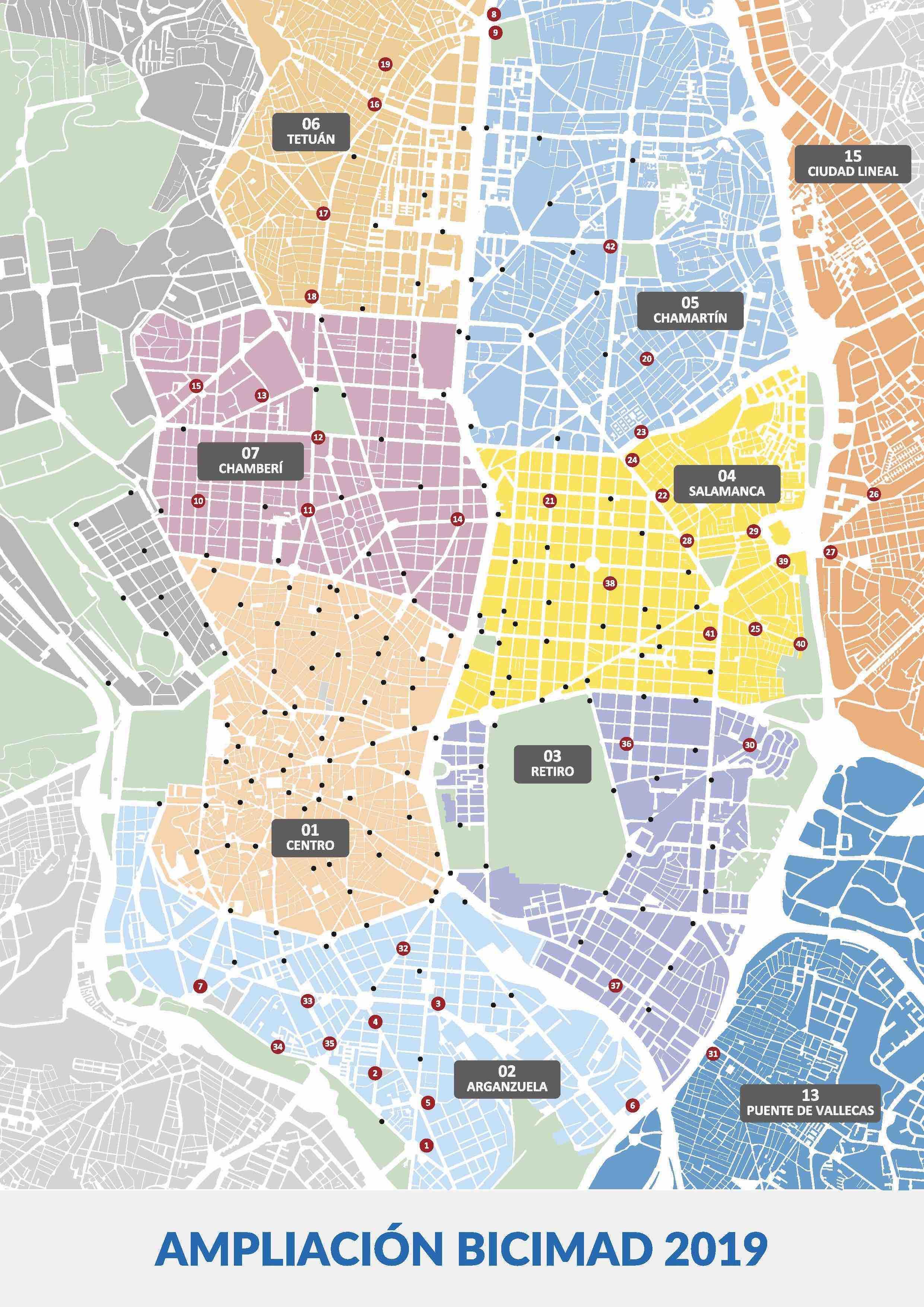 Mapa de la ampliación BiciMad. (Clic para ampliar)