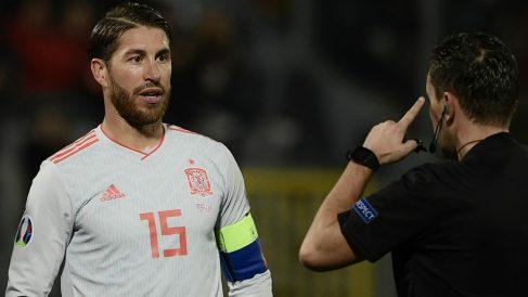 Sergio Ramos durante el Malta – España. (AFP)