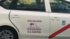 Un taxi de Madrid con un mensaje político