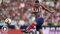 Lucas Hernández durante un partido con el Atlético. (AFP)