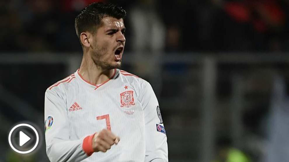 Morata celebra uno de sus goles a Malta. (AFP)