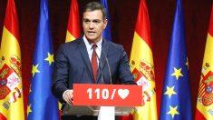 El secretario general del PSOE y presidente del Gobierno, Pedro Sánchez, durante su intervención en la presentación de las 110 principales medidas del programa electoral con el que los socialistas concurren a las elecciones del 28A