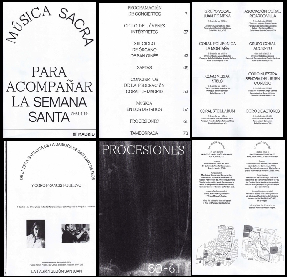 Algunas páginas del programa de Semana Santa.