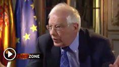 El ministro de Asuntos Exteriores, Josep Borell, durante la entrevista concedida a la cadena alemana Deutsche Welle