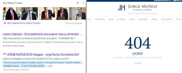 Limpian de internet todo vínculo entre Velasco y el despacho Martín Molina destapado por OKDIARIO