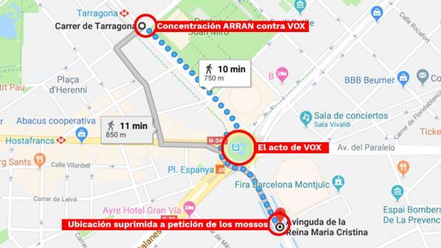 Los Mossos usan ahora unas amenazas de Arran para poner trabas al mitin de VOX en Barcelona
