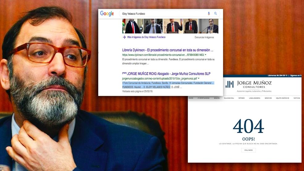 Eliminan en Internet la vinculación entre Velasco y Martín Molina.