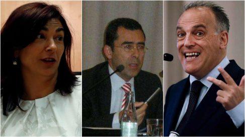 María José Rienda (izquierda), Ramón Barba (centro) y Javier Tebas (derecha).