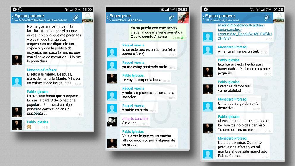 Algunos de los mensajes del chat interno de Podemos desvelados por OKDIARIO en 2016.
