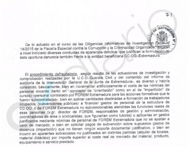 latrocinio de CCOO y UGT en Extremadura.