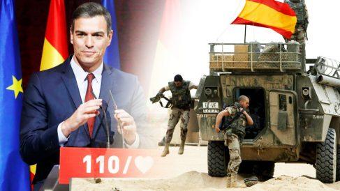 Pedro Sánchez y militares españoles en un vehículo BMR.