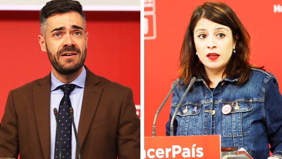 Felipe Sicilia, portavoz adjunto del Comité Electoral del PSOE, y Adriana Lastra, portavoz del PSOE en el Congreso
