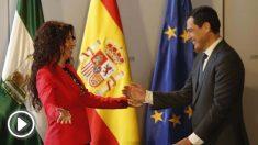La consejera Rocío Ruiz y el presidente andaluz Juanma Moreno (EP).