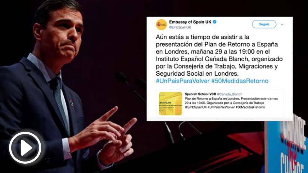 El presidente del Gobierno, Pedro Sánchez, y uno de los tuits electoralistas de la embajada en Reino Unido.