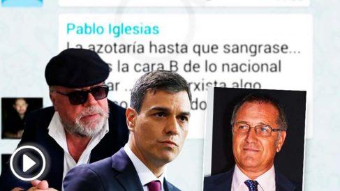 El comisario José Villarejo, el presidente Pedro Sánchez y el número 2 de su gabinete de prensa, Alberto Pozas.