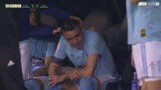 Iago Aspas rompió a llorar tras marcar un doblete y ser sustituido.