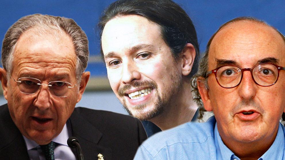 Félix Sanz Roldán, Pablo Iglesias y Jaume Roures.