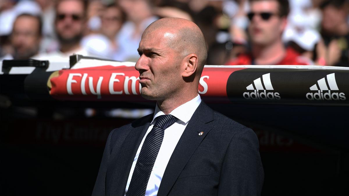 Zinedine Zidane, en un partido soleado en el Bernabéu. (Getty)