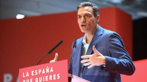 El presidente del Gobierno, Pedro Sánchez, durante la clausura de la convención municipal del PSC en Tarragona.-EFE/Jaume Sellart