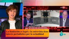 La directora del Canal 24 horas, Cristina Ónega, en el programa 'RTVE Responde' hablando sobre la Fundación Francisco Franco.