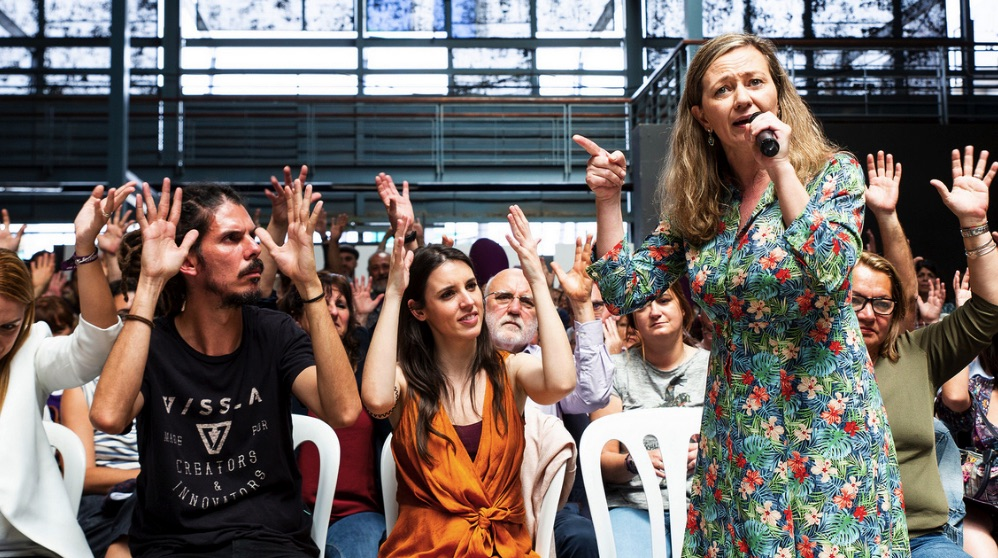 El diputado de Podemos Alberto Rodríguez, la ministra Irene Montero y la delegada del Gobierno contra la Violencia de Género, Victoria Rosell (Foto: Podemos).